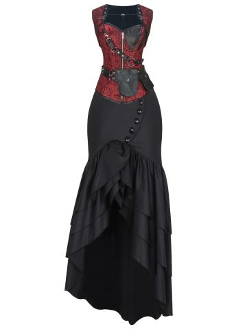 walkingon reversible gothic steampunk costumes overbust