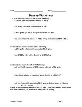 Density Worksheet Density Worksheet Calculating Density Worksheets