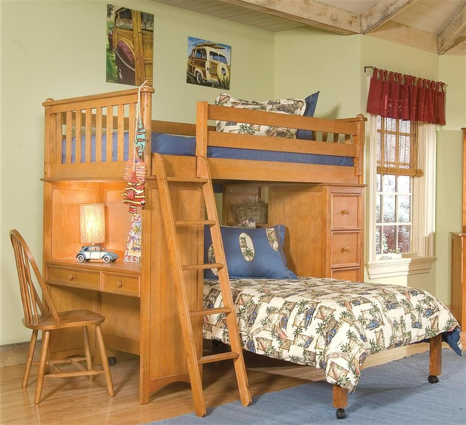 Mission Storage Twin L Shaped Loft Bed in Honey Finish