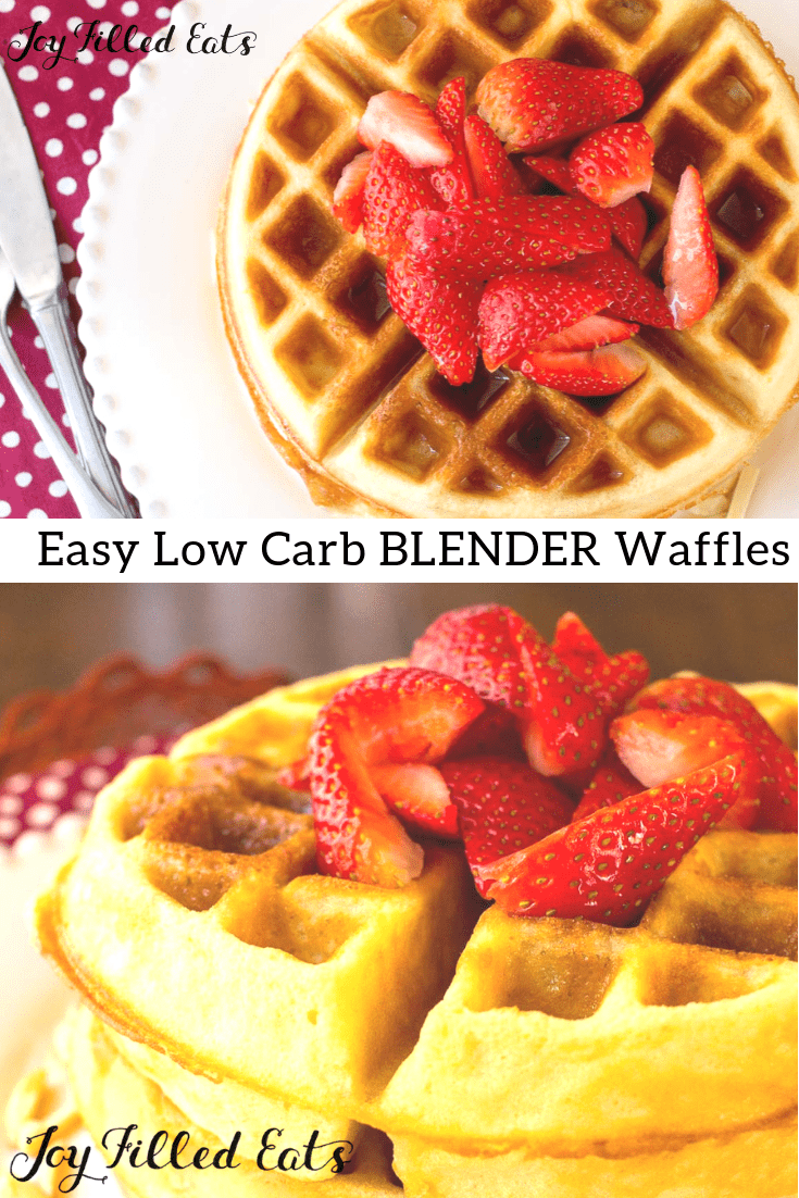 Easy Low Carb Blender Waffles - Gluten Free, Grain Free, THM S - These make it into your waffle iron after only a 5-minute prep. Just give the ingredients a whirl in the blender and you are good to go! They are moist, flavorful, and freeze and reheat well!