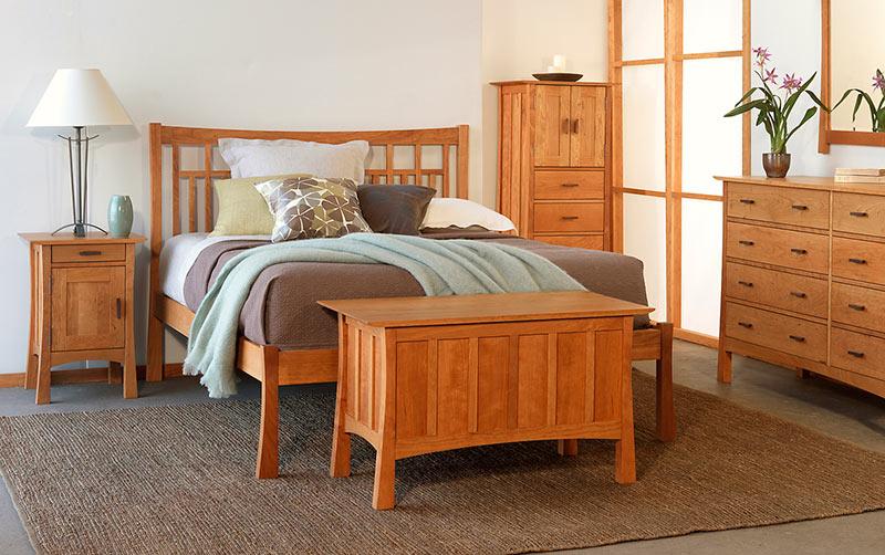 Contemporary Craftsman Low Footboard Bed Bedroom