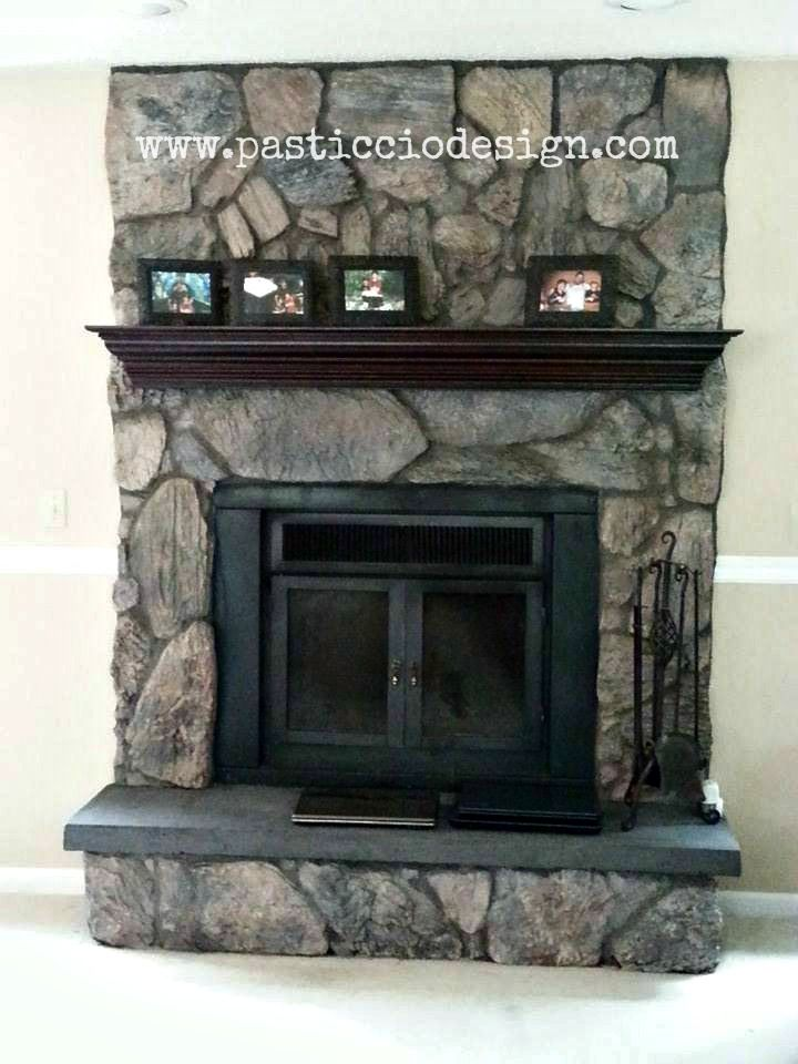 Painted lava rock fireplace house projects Pinterest Rock
