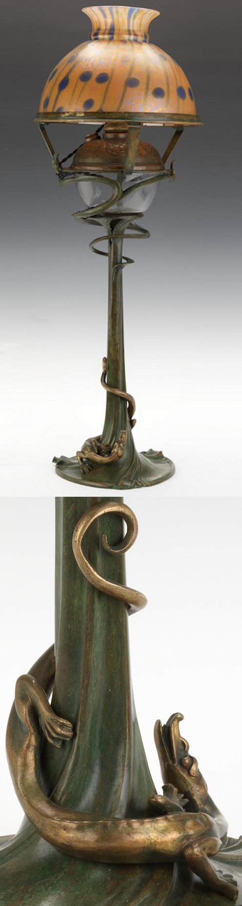 Art Nouveau Dragon Oil Lamp with Loetz Glass Shade, patinated bronze, base: 24 in. H, shade: 7-1/2 in. H x 9-7/8 in Diam.
