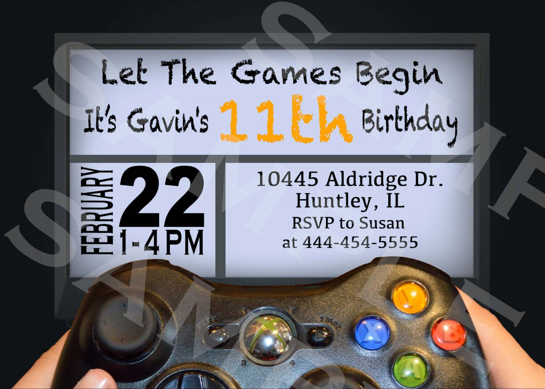 VIDEO GAME Birthday Party Invitation Xbox or PS4 Invitation Gamer ...