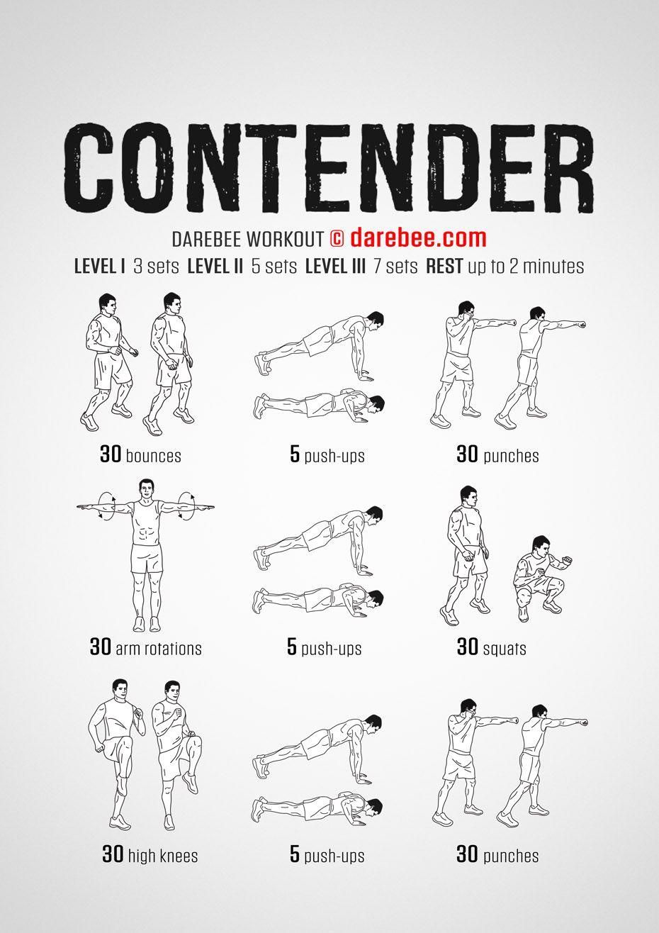 Contender Workout   Aerobics workout, Darebee, Superhero ...