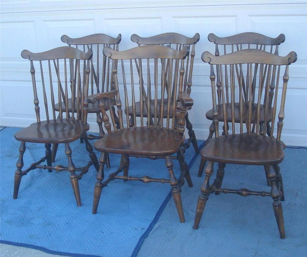 Early American Temple Stuart Rockingham Set Of 6 Windsor Chairs