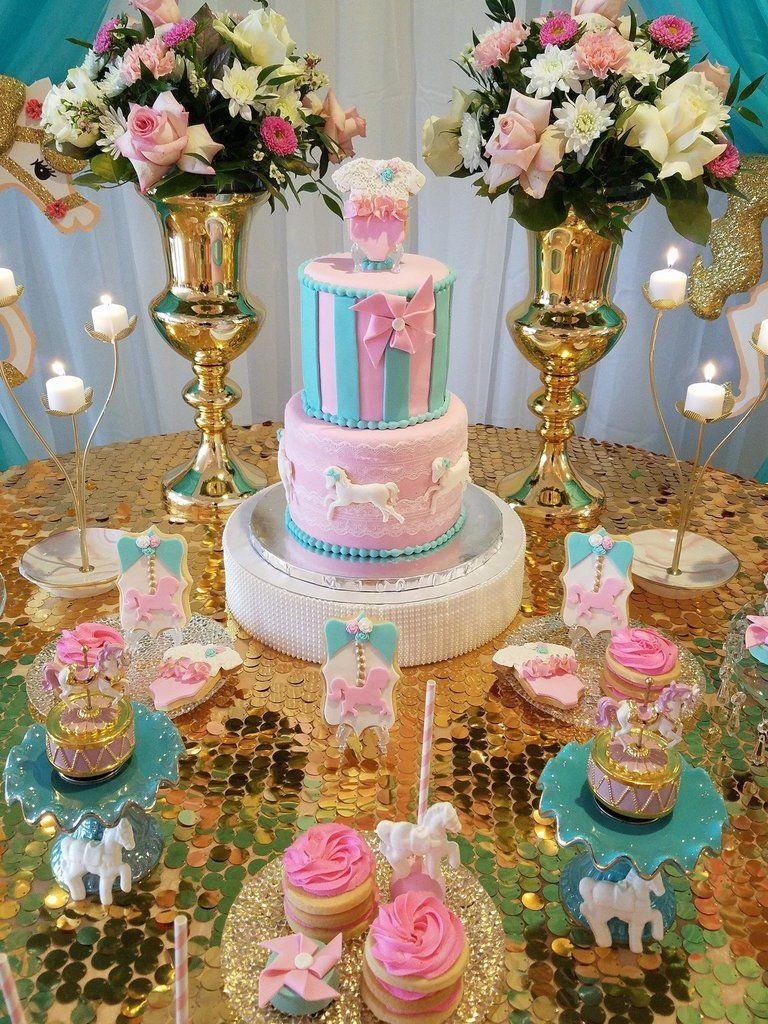 Gold Glitter Carousel Horse Baby Shower Theme  Carousel