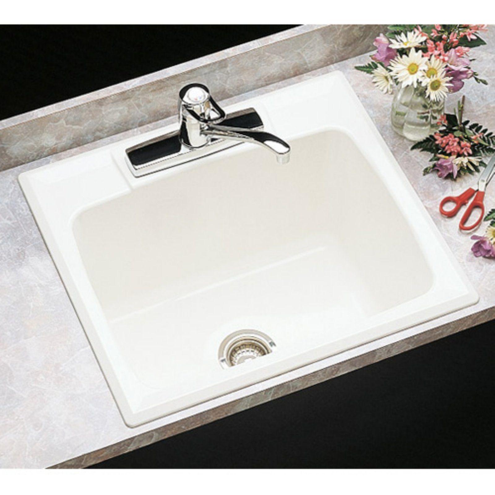 Mustee Durastone 10c Single Basin Drop In Utility Sink Biscuit
