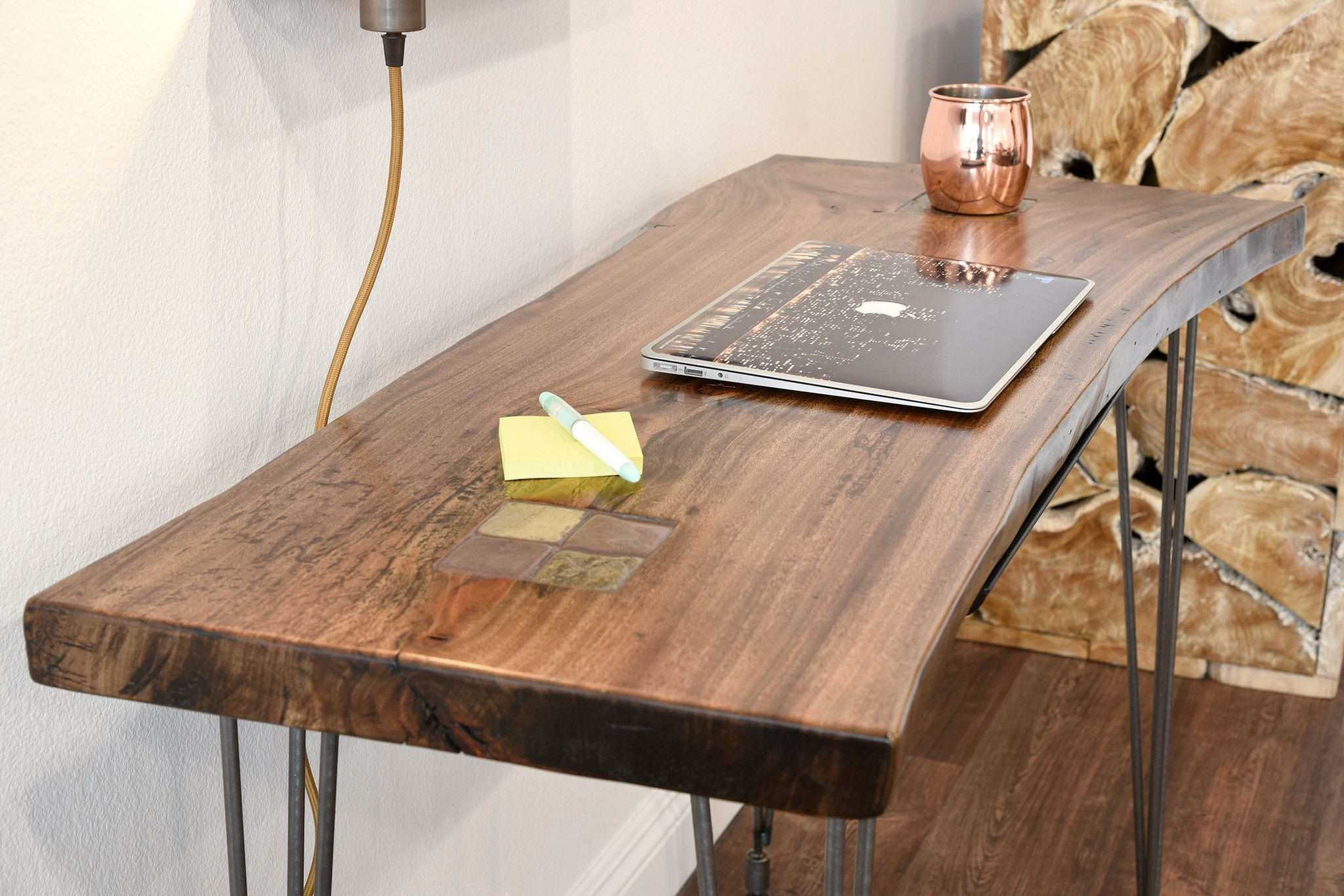 Natural edge dining table w steel hairpin legs from impact imports of - Dining Room Table Reclaimed Wood Live Edge Slab Desk