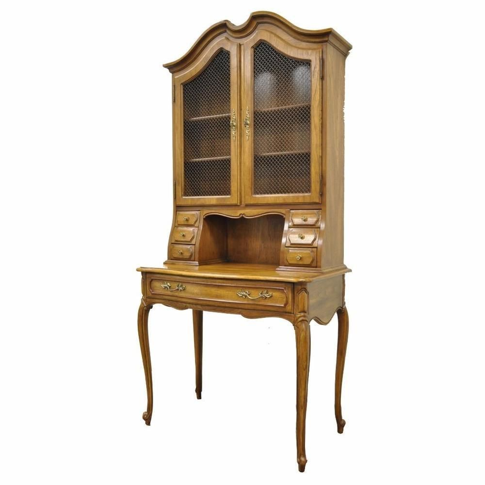 Vintage Thomasville Country French Style Louis Xv Oak Wood Secretary Desk Curio
