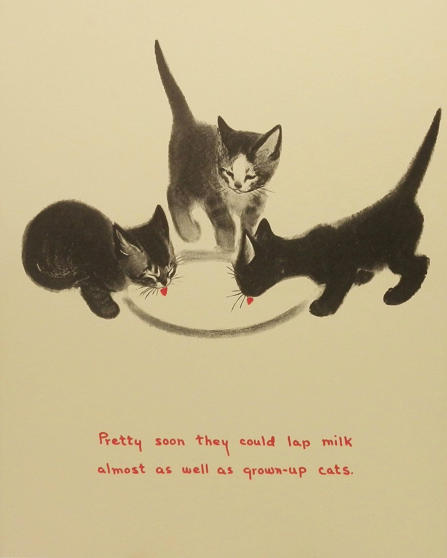 Vintage First Dish of Milk, Kids Wall Art (Children Cat Print To ...