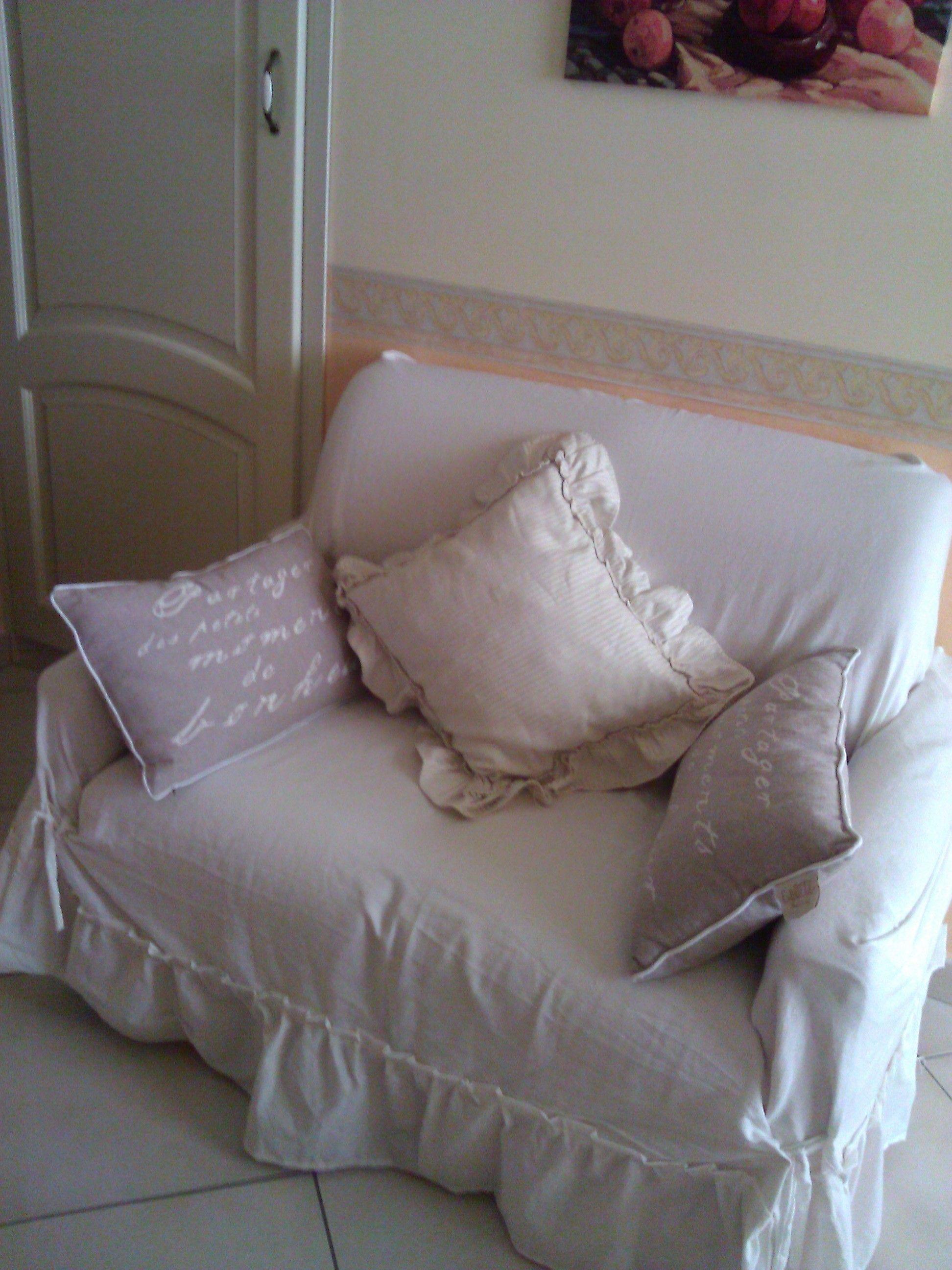 Copri divano in tessuto di tela di lino stile Shabby Chic ...