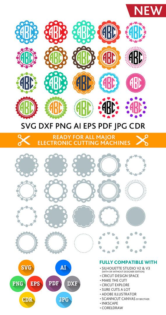 Circle Monogram Frames SVG Cut Files - SVG DXF Silhouette Studio Png ...