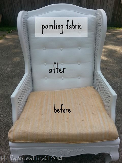 Painting Upholstered Furniture by My Repurposed Life is part of Painting upholstered furniture - This post is a great tutorial on painting upholstered furniture (cane wing back chair) with a Homeright Finish Max paint sprayer