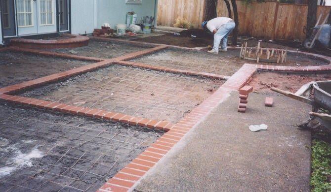 Brick And Concrete Diamond Design Patio Concrete Patio Designs