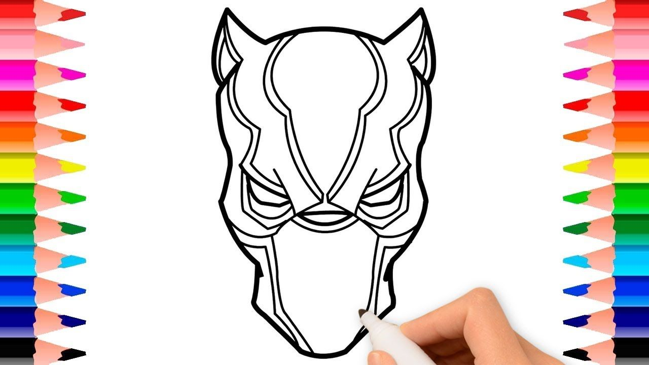 How To Draw Black Panther Mask Coloring Page For Kids Babies Children Coloring Pages For Kids Coloring Pages Drawings