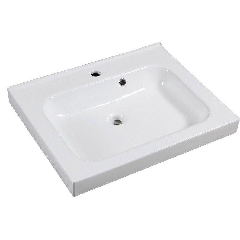 Plan Vasque Simple Remix Ceramique L 61 X P 48 5 Cm Plan Vasque Vasque Et Leroymerlin Salle De Bain