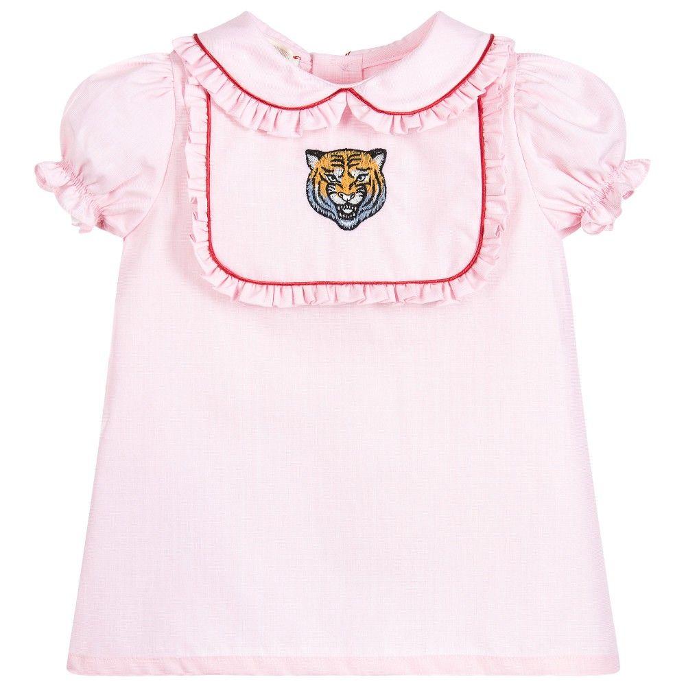 4b552f874916 Gucci Baby Girls Pink Cotton Tiger Blouse at Childrensalon.com ...
