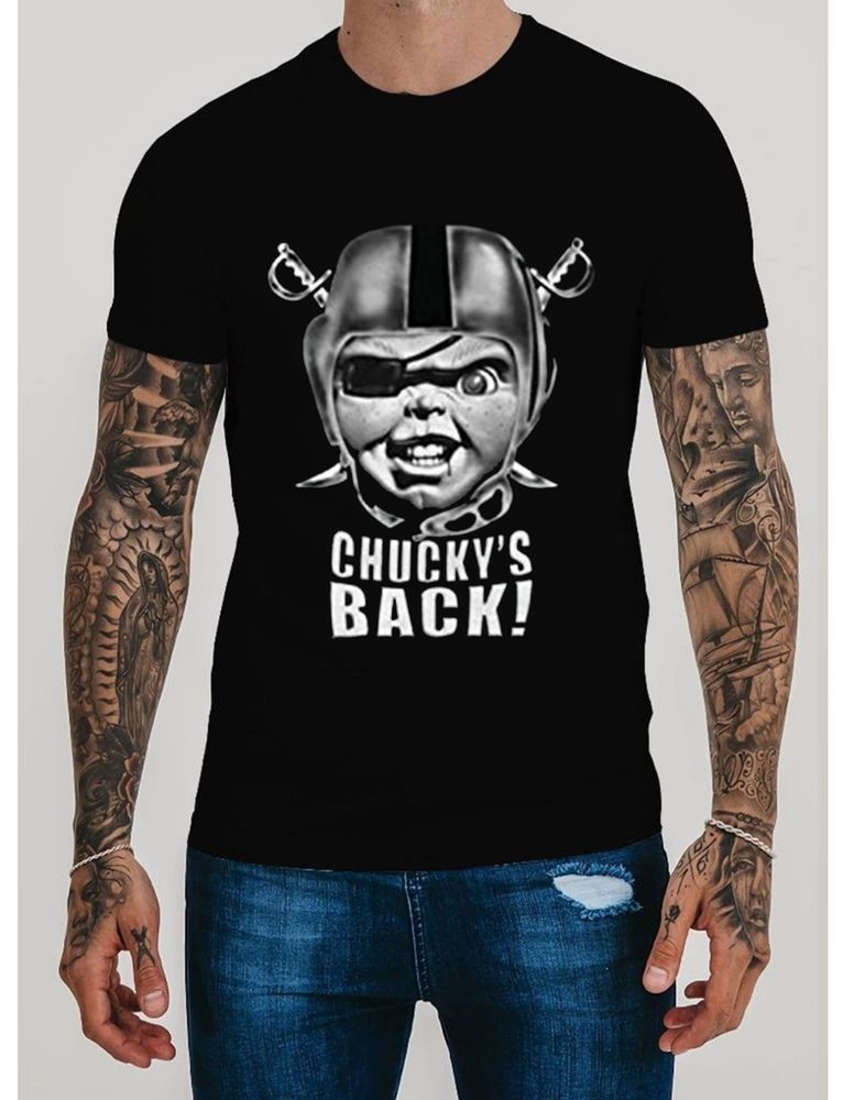 5bd49b9ee40 Las Vegas RAIDERS T-SHIRT OAKLAND CHUCKY S BACK T-shirt S-2XL Short Slave   fashion  clothing  shoes  accessories  mensclothing  shirts (ebay link)