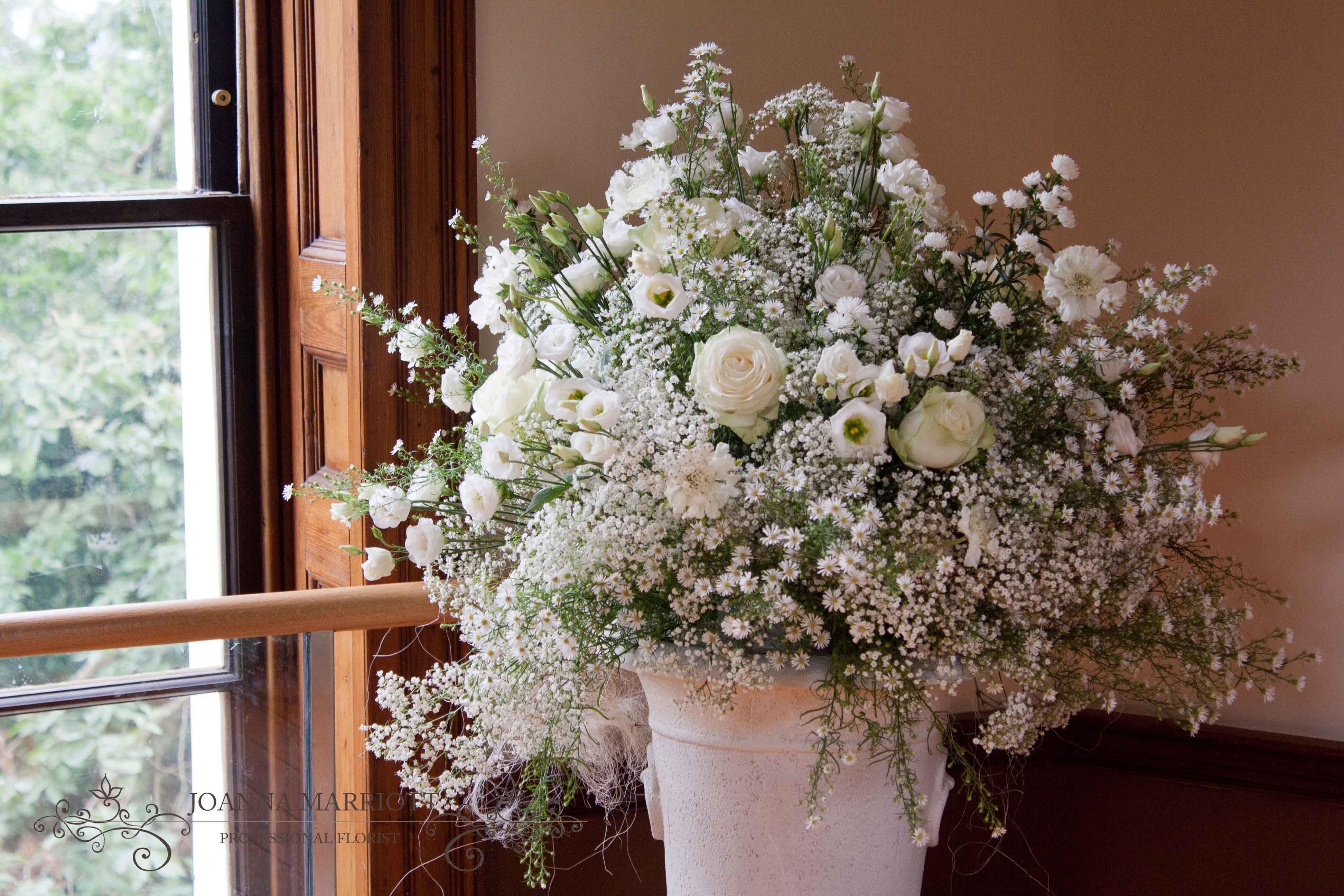 Delicate Wedding Pedestal Arrangement White Gypsophila Asters Roses Lisianthus Scabious Wedding Flowers Gypsophila White Roses
