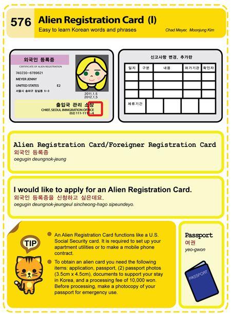 576 Alien Registration Card I With Images Learn Korean