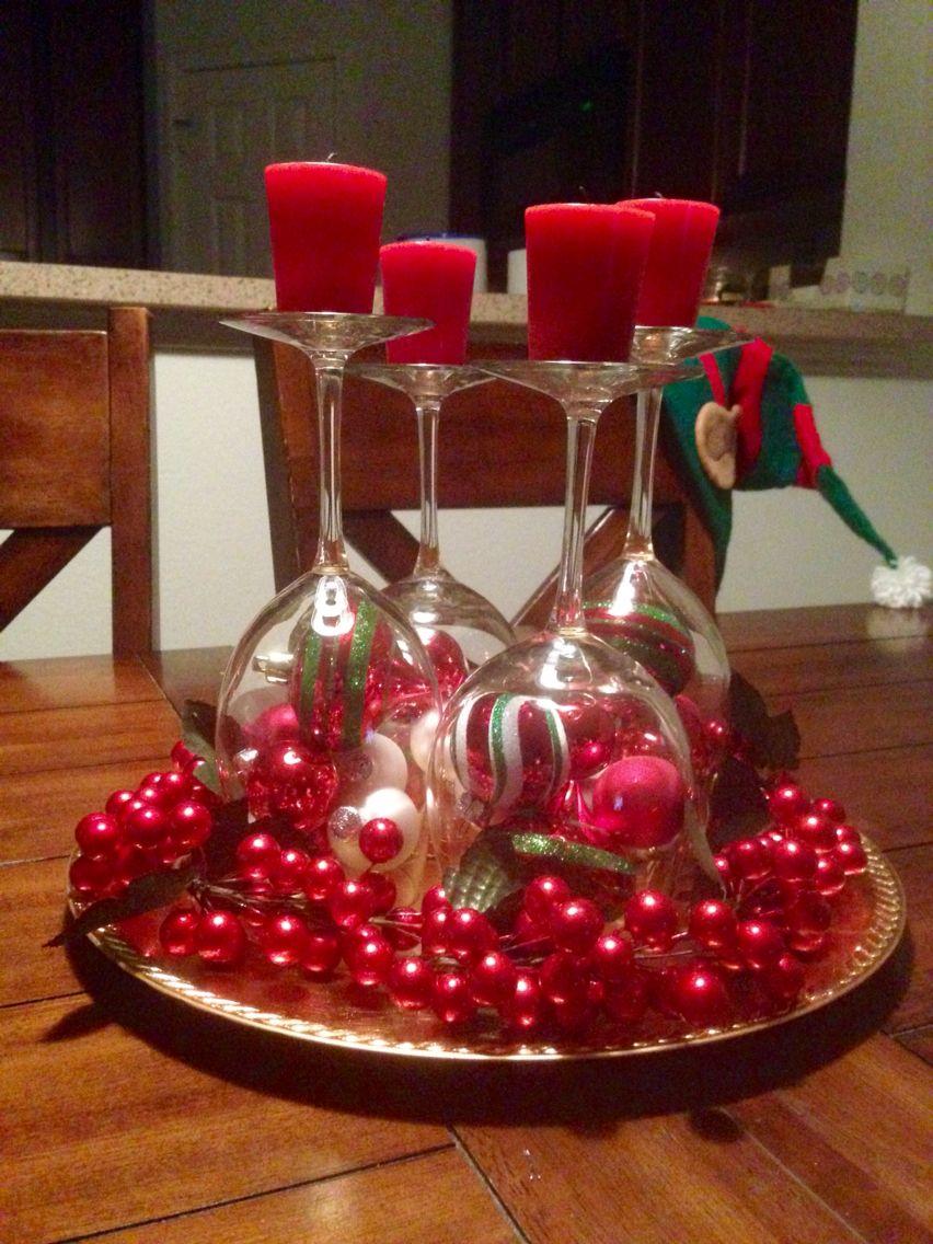 Simple and elegant christmas centerpiece wine glasses