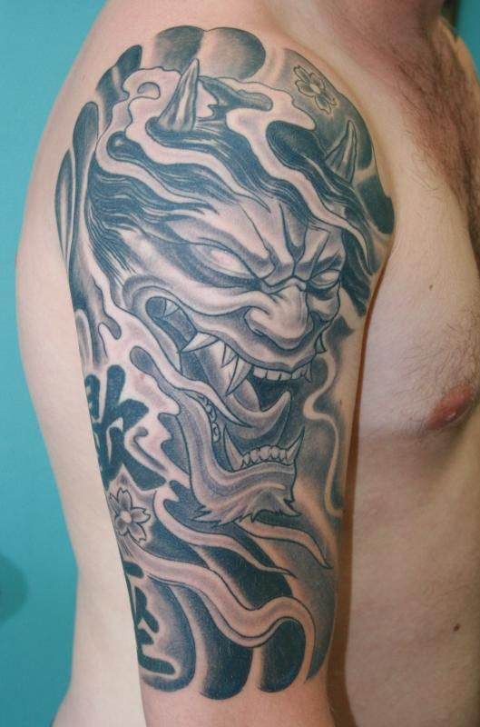 half sleeve asian demon tattoo design devil and demon tattoos pinterest demon tattoo. Black Bedroom Furniture Sets. Home Design Ideas