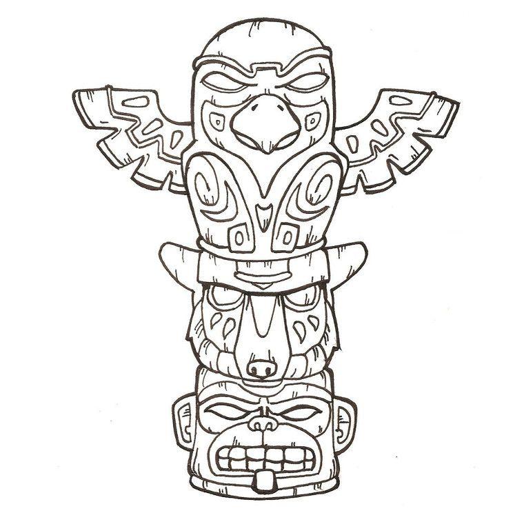 Coloriage Totem Shaman Object Tatouage Totem Art Totem