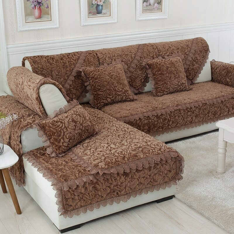 Thicken Plush Fabric Sofa Cover Lace Decor Slipcover Living Room Decor Plush Sofa Ideas Of Plu With Images Cushions On Sofa Slipcovers For Chairs Sofa Covers