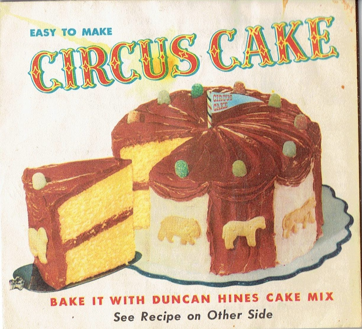 Easy To Make Circus Cake Duncan Hines Cake Mix C Late 1940 S