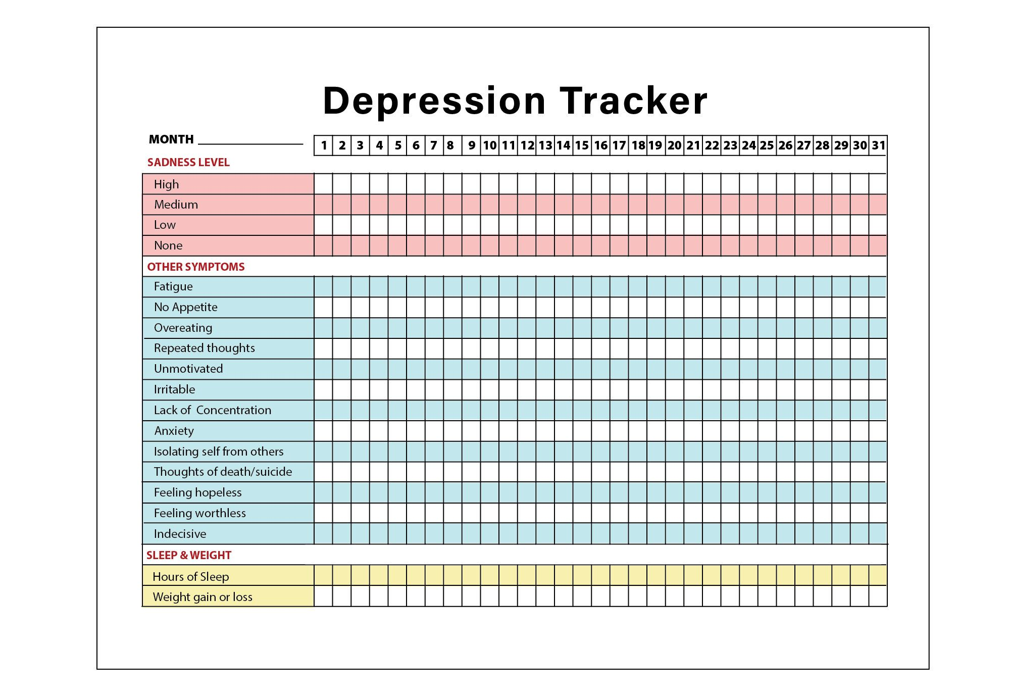 Printable Depression Symptoms Sleep And Weight Tracker Mental