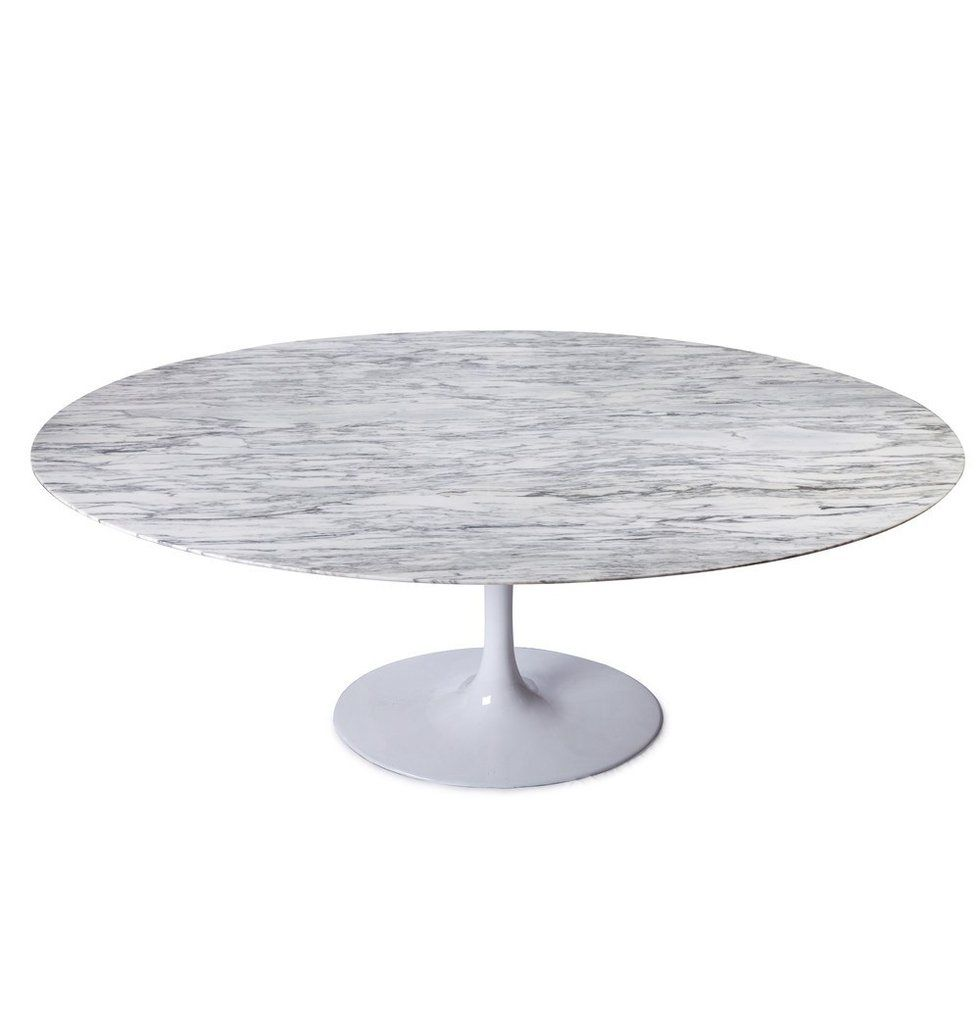 Reproduction Of Tulip Dining Table Oval Marble Top Carrara - Best saarinen tulip table reproduction