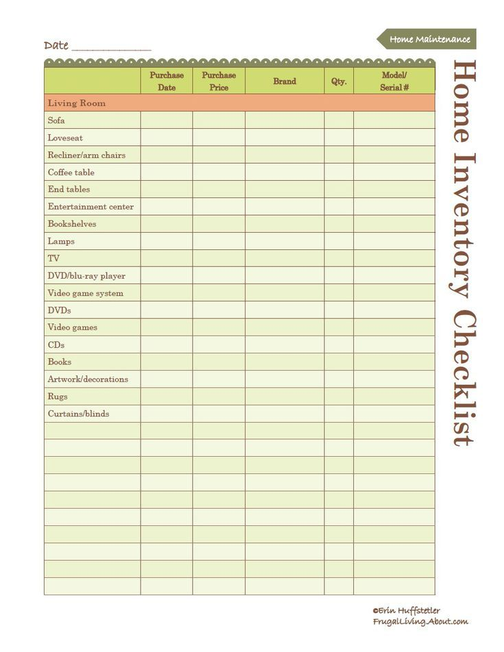 Use This Free Printable to Create an Inventory of Your Home Free - inventory list