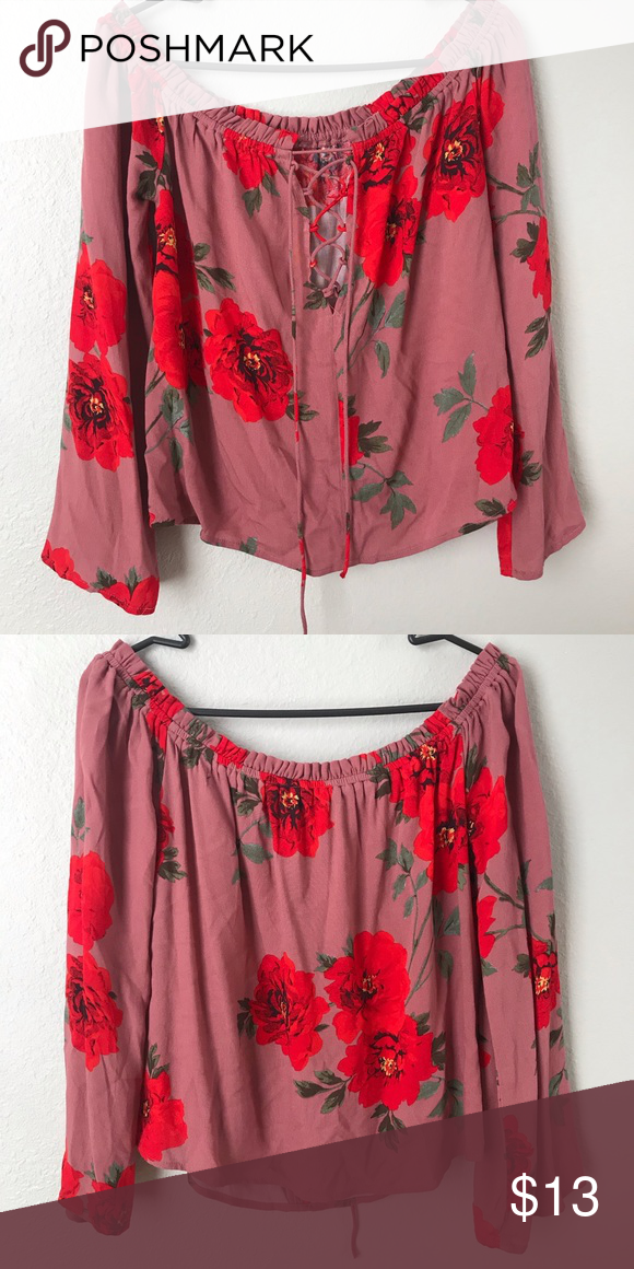 c031505e64b0e Kendall   Kylie Off-the-Shoulder Floral Top Dusty pink off-the-shoulder  long sleeve shirt with red flower design and cross tie opening in the front  Kendall ...