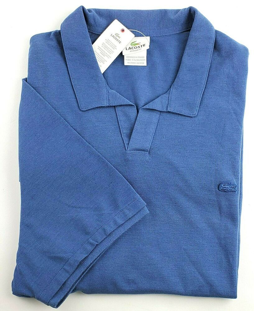 reputable site 5fafb 2592e Lacoste Men's Johnny Collar Pique Polo Shirt Solid Blue Size ...