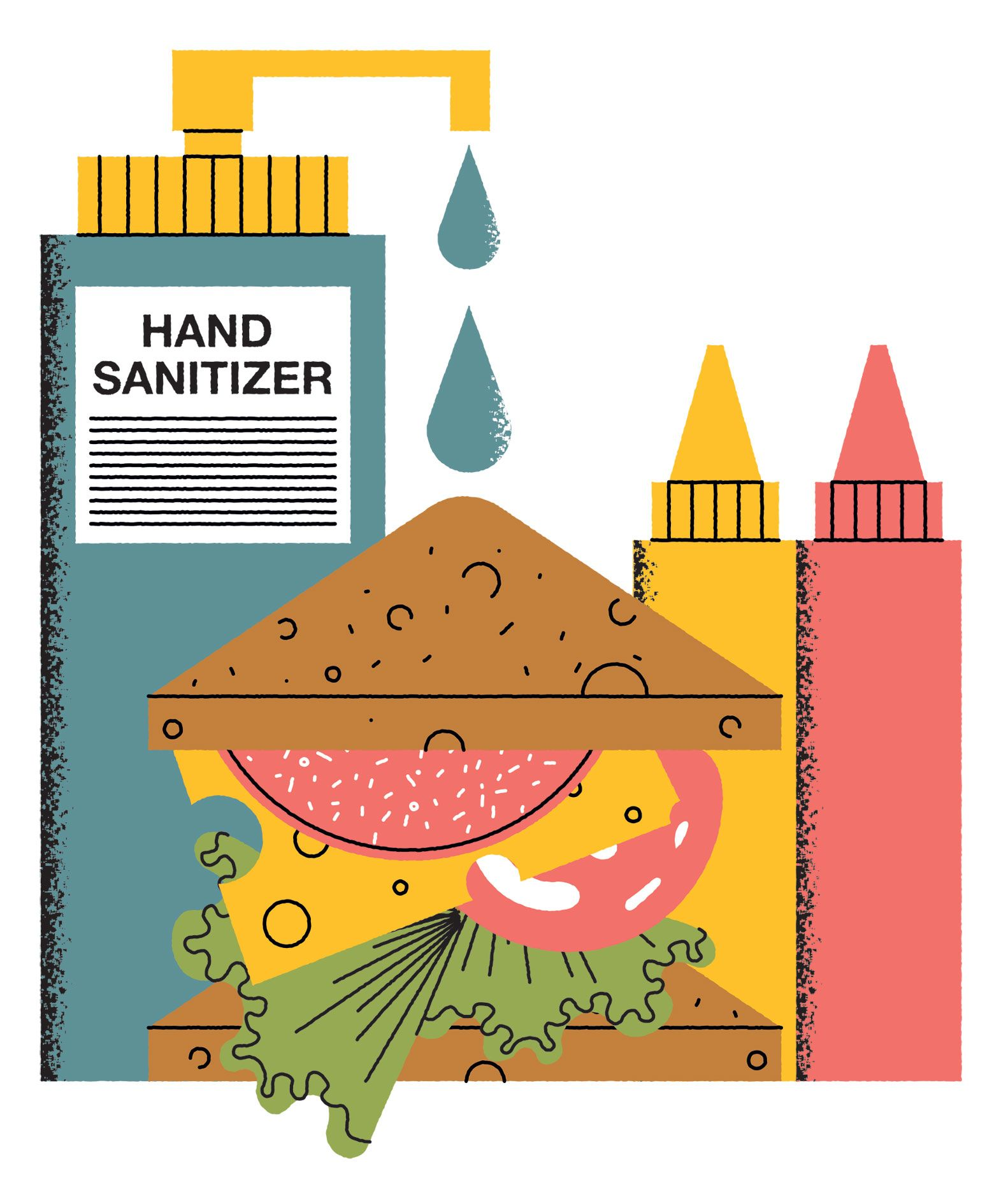 John Devolle Illustration Building Illustration Hand Sanitizer