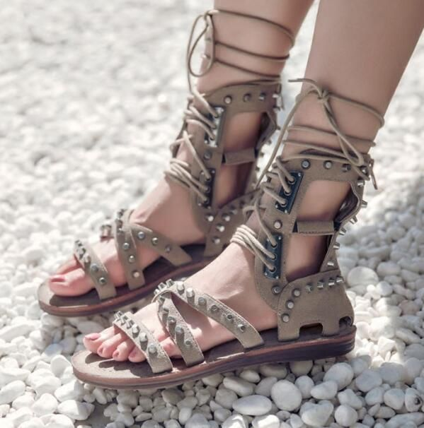 26ee27708fb Dipsloot 2018 Rivets Decorated Lace-up Woman Summer Gladiator Sandals Peep  Toe Cus-outs Flat Casual Shoes Woman sandals Boots