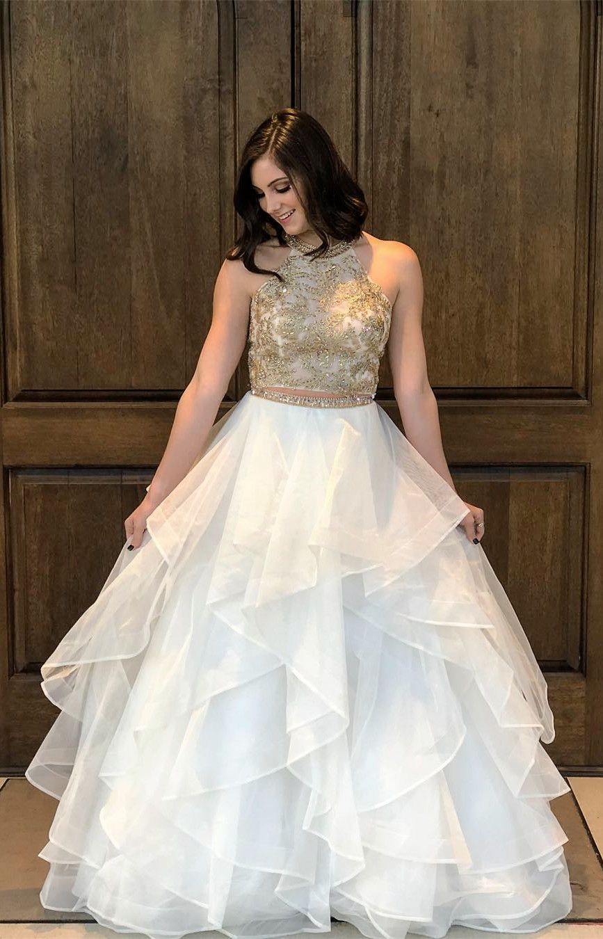 8f3e0edde910a gold and white prom dress, long prom dress, two piece prom dress, 2018 prom  dress
