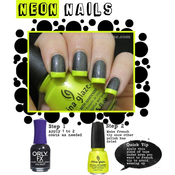 Neon French Tip Nails   Nailed it.   Pinterest