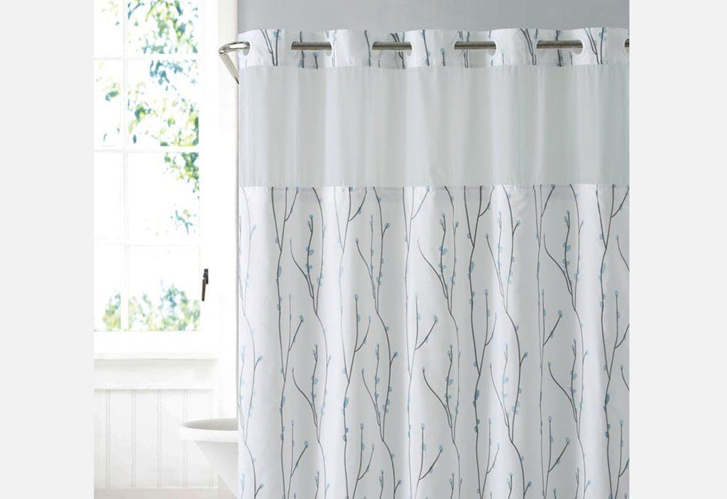 Hookless Colorblock Shower Curtain With Snap On Liner Hookless