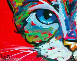 ABSTRACT ORIGINAL ART RED COLORFUL PAINTING 4X5 IN CAT EYES MARC BROADWAY. Wohnung  GestaltenFarbigKatzenHundeKunstunterrichtAbstrakteMalereiZeichnungenDeko