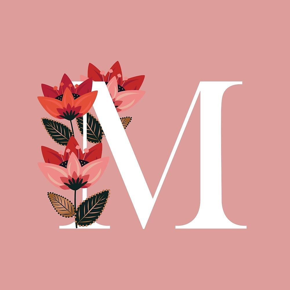 Venice Floral Monogram M By Werlangpaper Redbubble Monogram Wallpaper Alphabet Wallpaper Floral Monogram