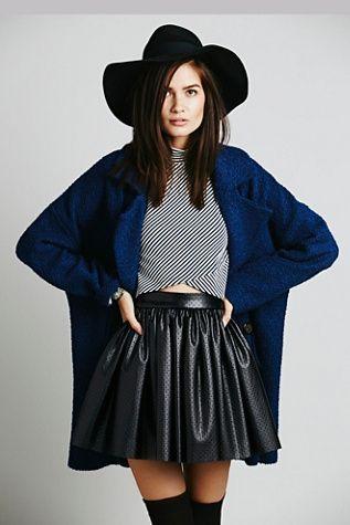 Misile Benson Vegn Leather Skirt