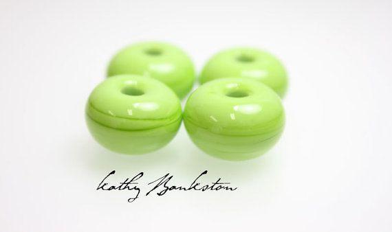 Pea Green Large Hole Beads-Large Hole Green Beads-Large Hole Green Lampwork-Pea Green Beads-Kathy Bankston