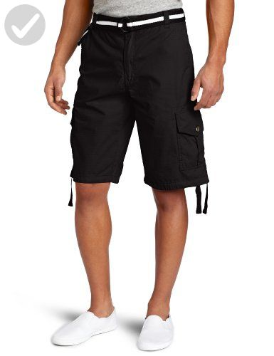 8265844d1e Southpole Men's Big-Tall Big & Tall Belted Ripstop Basic Cargo Short with  Washing & 13.5 Inch Length All Season, Black, 46 - Mens world (*Amazon ...