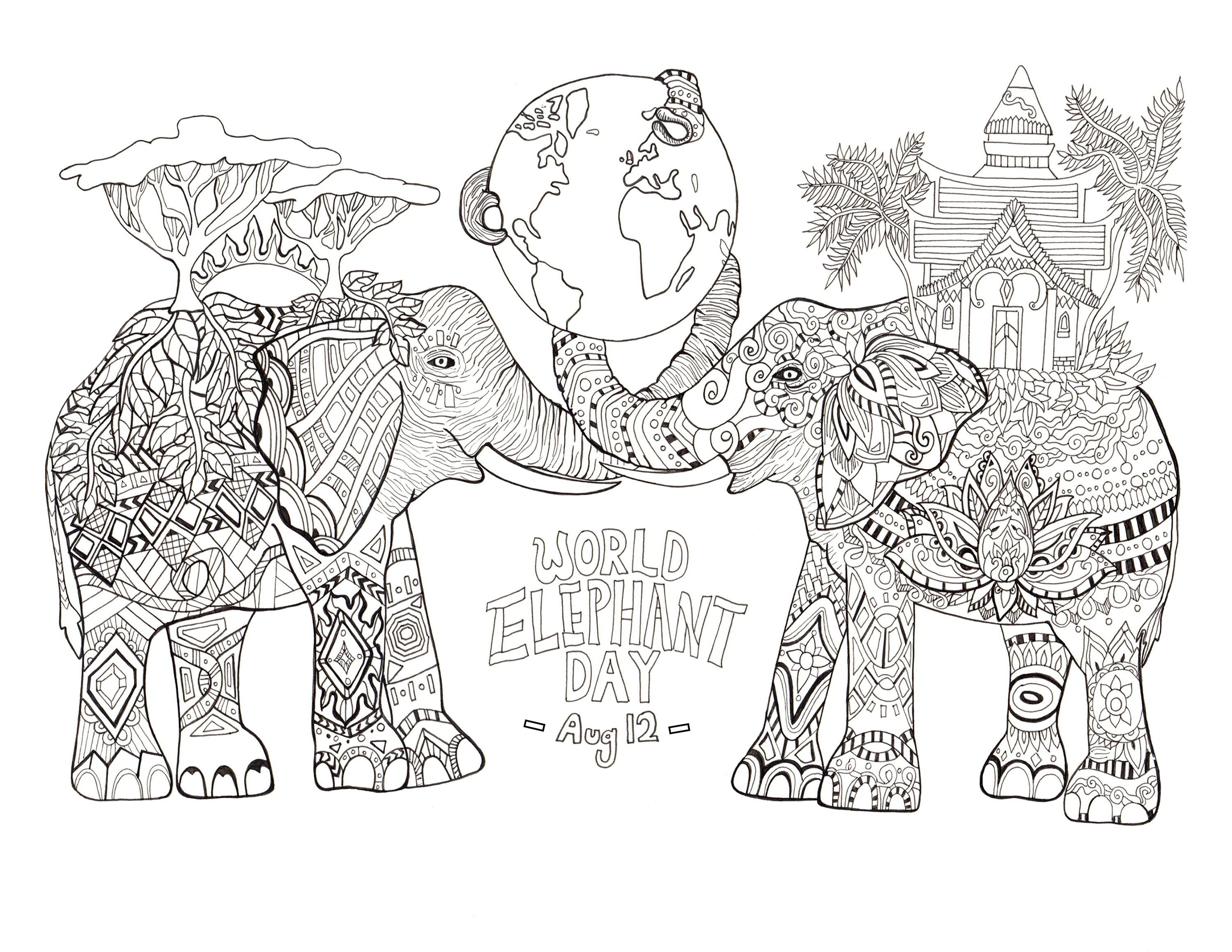 Coloring page drawn by rylee postulo for the world elephant day aug