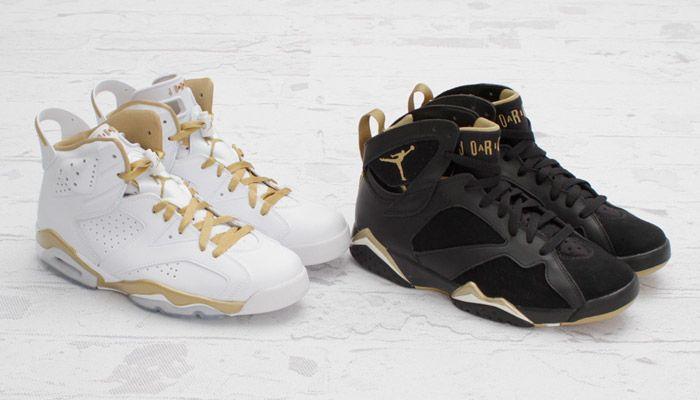 White Gold Retro 6s And Black Gold Retro 7s Sneakers Jordans