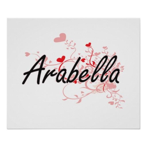Arabella Artistic Name Design With Hearts Poster Heart Poster Name Design Funny Posters