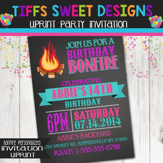 Bonfire Invitation Camp Out Camping Girl By
