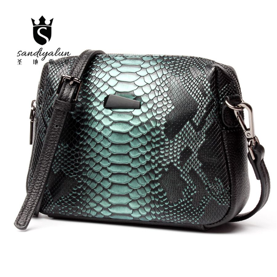 Rivet Vintage Style Woman Shoulder Bag Crocodile Pattern Ladies Crossbody  Bags Fashion Cowhide Real Leather Messenger Bag d7e20a1cad4da
